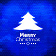 Merry Christmas tree card abstract blue background — Stock Vector