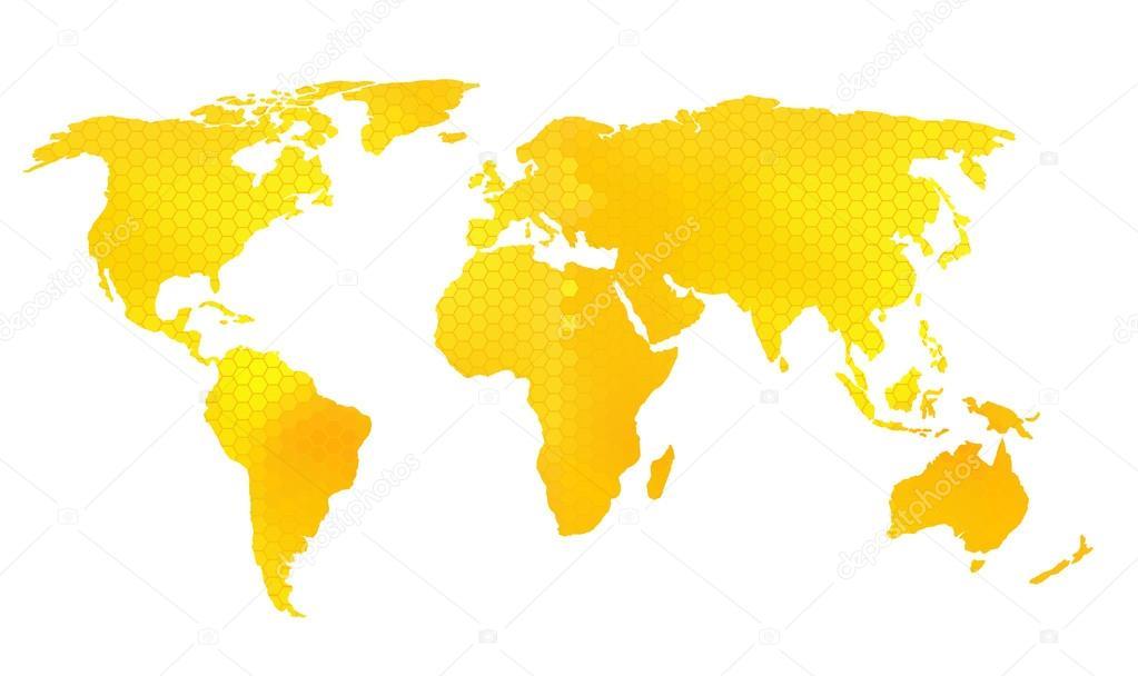 世界地图矢量插图,蜂窝状图案的蜜蜂设计– 图库插图