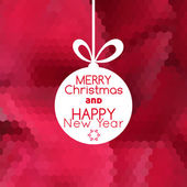 Merry Christmas ball card abstract red background — Stockvektor