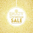 Gold Christmas Sale on doodle seamless pattern — Stock Vector