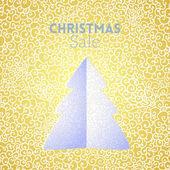 Gouden kerstboom verkoop doodle naadloze patroon — Stockvector