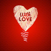 Love hearts sketch hand drawn card — Stock Vector