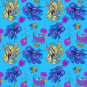 Blue flower seamless pattern — Stock Vector