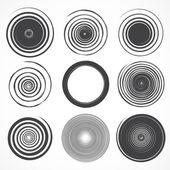Conjunto de vectores grunge círculo de trazos de pincel. — Vector de stock