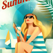 Retro poster with a girl sitting on the beach. — Stock Vector #38989051
