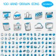 Stock Vector: 100 hand-drawn icons.