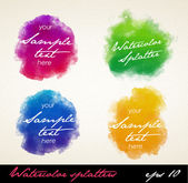 Watercolor splatters. — Stock Vector