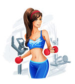Pretty woman holding weights. — Stock Vector