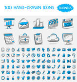 100 hand-drawn icons. — Stock Vector