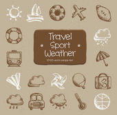 Travel, sport, weather icons — Stock Vector