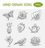 Hand-drawn icons Spring — Stock Vector