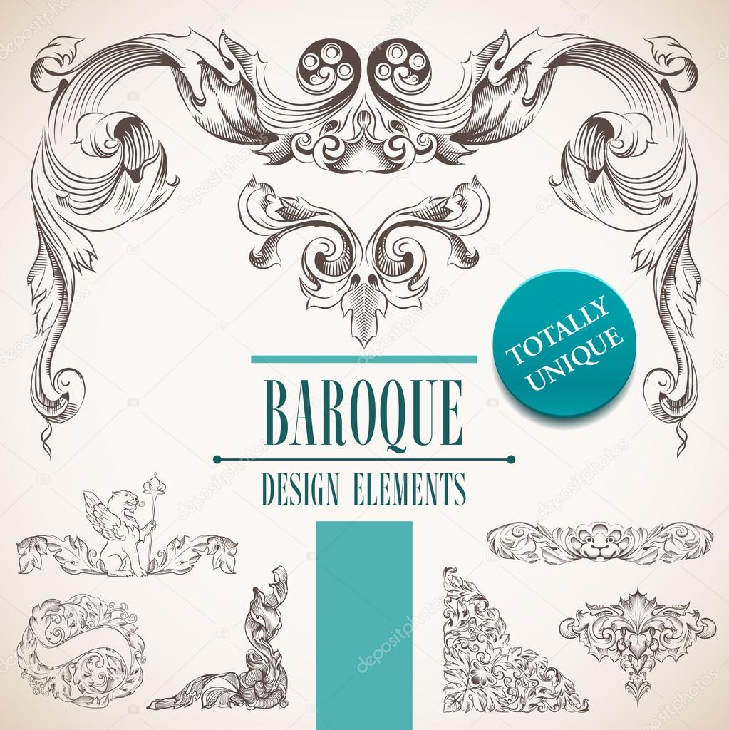 Elementos de dise o barroco vector de stock best works for Baroque design elements