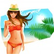 Stock Vector: Hot girl on a beach.