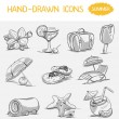 Hand-drawn icons Summer — Stock Vector