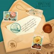 Vintage envelope with postage stamp — Stock Vector
