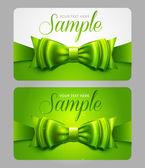Cartões de presente verde com laço — Vetor de Stock