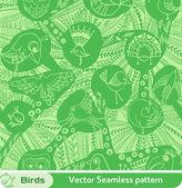 Vektor seamless mönster med fåglar — Stockvektor
