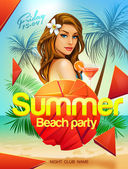 Summer beach party flyer design with sexy girl — ストックベクタ