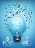 Лампочку и рисунок бизнес-стратегия — Cтоковый вектор
