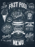 Fast food chalkboard design set — Stock Vector