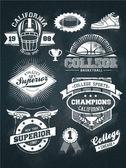 College athletics sport chalkboard design set — Stock Vector