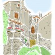 Old houses in Porec, Croatia — Stock Vector