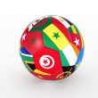 3d rendering of a soccer ball with flags of the African countries — Stock Photo #19531679