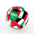3d rendering of a soccer ball with flags of the Asian countries — Stock Photo
