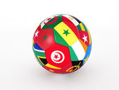 3d rendering of a soccer ball with flags of the African countries — Stock Photo