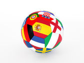 3d rendering of a soccer ball with flags of the European countries — Stock Photo