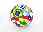 3d rendering of a soccer ball with flags of the countries of South America — Stock Photo
