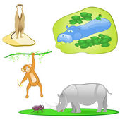 Illustration of isolated wild animals set on white background — Stock Vector