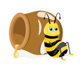 Vector illustration of cartoon bee sitting about honey pot — Stock Vector