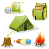 Vector illustration of camping collection — Stock Vector