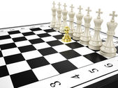 Gold pawn and some white kings - strategy and leadership concept — Stock Photo