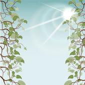 Leafs in sun rays, vector illustration — Stock Vector