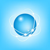 3D Vector Atom on blue — Stock Vector