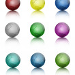 Set of colored globe icons. Vector Illustration — Stock Vector