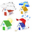 Stock Vector: 3D Houses with weather symbols set