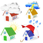 3D Houses with weather symbols set — Stock Vector