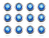 Zodiac astrology signs button set — Stock Vector