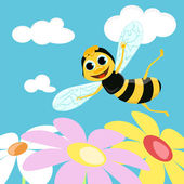 Flying bee. Vector illustration — Stock vektor