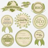 Eco bio natürliche etiketten im retro vintage stil — Stockvektor