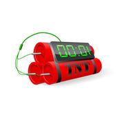 Explosivos con reloj despertador digital. ilustración vectorial — Vector de stock