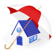 House under an umbrella. Vector illustration — Stock Vector