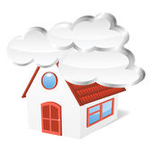 House with clouds. Vector illustration — Stock Vector