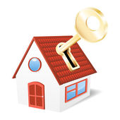 House with a golden key. Vector illustration — Stock Vector