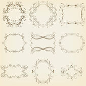 Calligraphic and floral frames set. Vector illustration — Stok Vektör