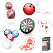 Set of vector casino and game elements — Stock Vector