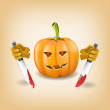 Halloween background with killer pumpkin. Vector illustration — Stock Vector